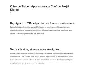 INITIA - Offre d'Apprentissage Chef de Projet Digital -