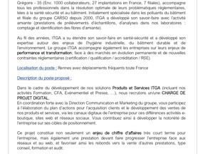 itga - Proposition poste en alternance - Chargé de projet digital – H/F