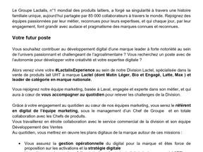 Lactel - Chargé de projet digital LACTEL (H/F)