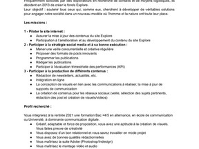 Communication Digitale - Fond de dotation EXPLORE - Alternance