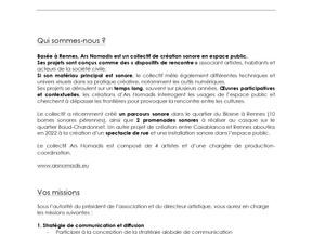 Ars Nomadis - Contrat d'apprentissage en charge de la communication et de la diffusion
