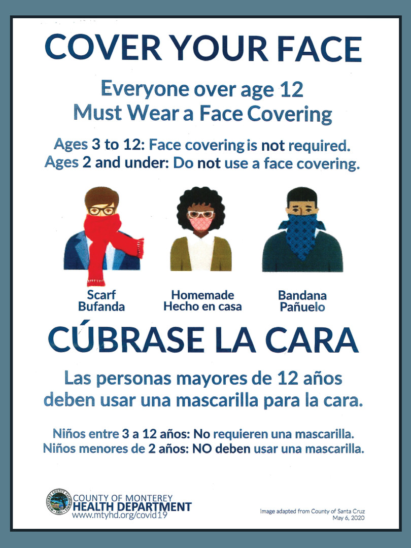 Health Department Reminder for Face Covering