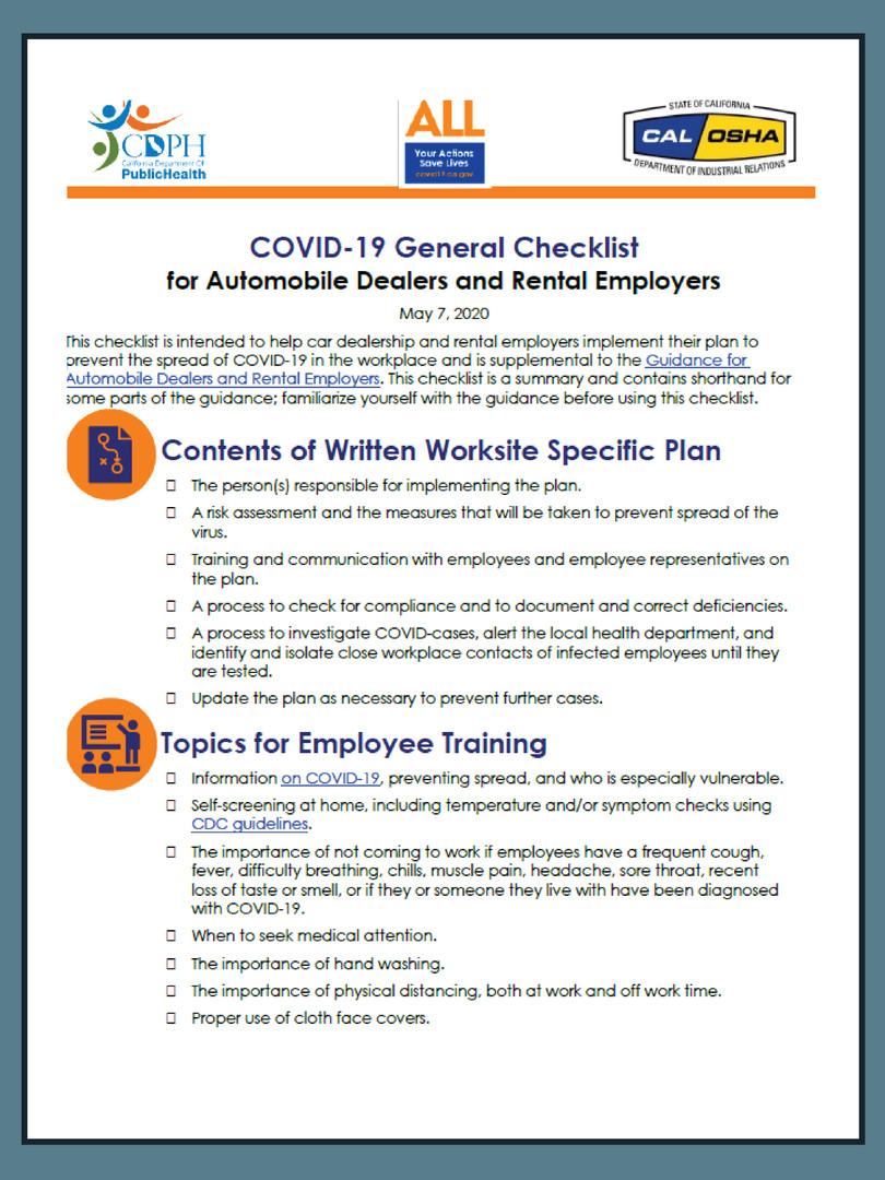 General Checklist for Office Workspace