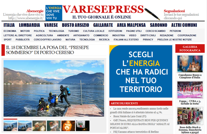 """IL 18 DICEMBRE LA POSA DEL """"PRESEPE SOMMERSO"""" DI PORTO CERESIO - VaresePress"""