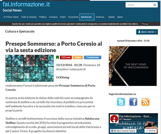 Presepe Sommerso: a Porto Ceresio al via la sesta edizione - fai.informazione.it