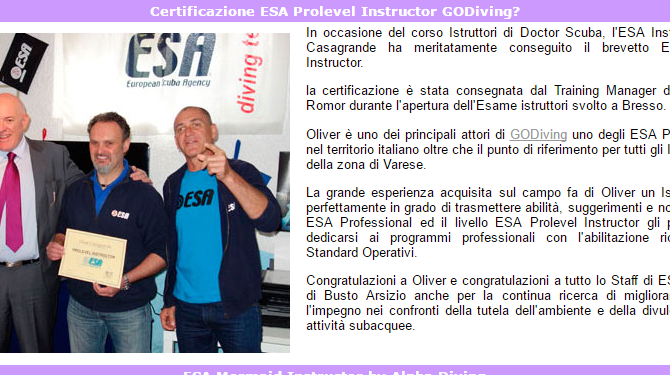 OLIVER riceve la certificazione ESA Prolevel Instructor