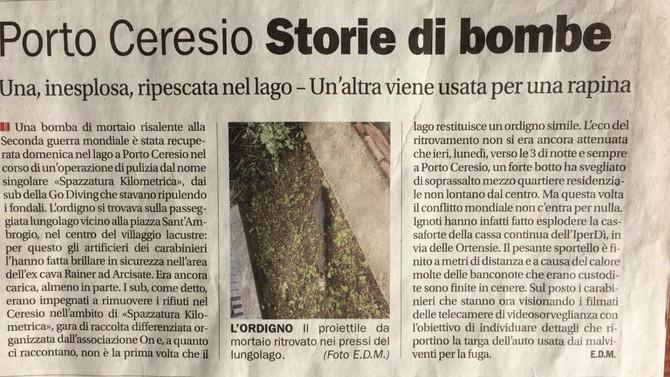 Pulizia del lago a Porto Ceresio - ritrovamento di un residuo bellico
