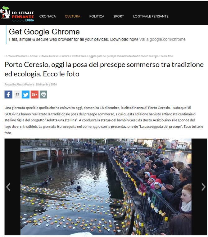 Porto Ceresio, oggi la posa del presepe sommerso tra tradizione ed ecologia. Ecco le foto - lo stiva