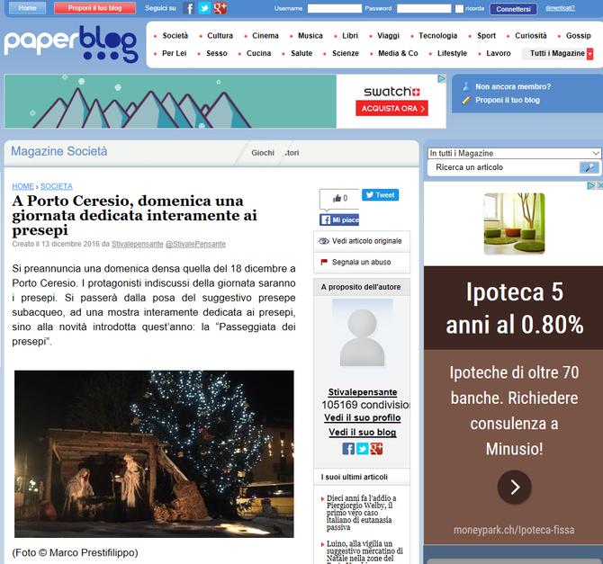A Porto Ceresio, domenica una giornata dedicata interamente ai presepi - paperblog