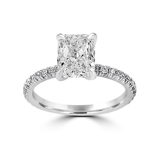 Radiant cut, radiant diamond, pave shank, open basket, 4 prong