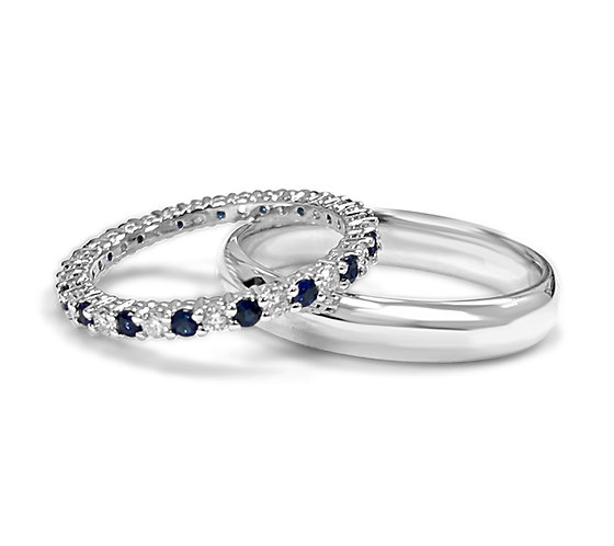 diamonds and sapphires, sapphire wedding band, wedding band set