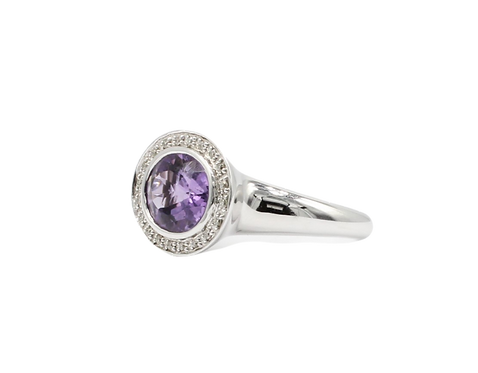 East West Amethyst ring, Gold diamond gem stone ring, fashion ring