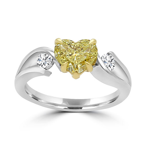 Natural yellow diamond hear shape, Fancy Yellow Heart shape Diamond ring