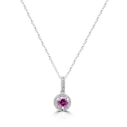 Pink Sapphire, natural Pink saphire, sapphire pendant, gold necklace