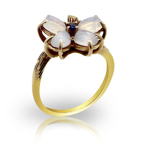 moon stone, sapphire, flower ring, vintage ring