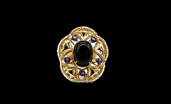 Amethyst Cabochon ring, Yellow gold Amethyst ring