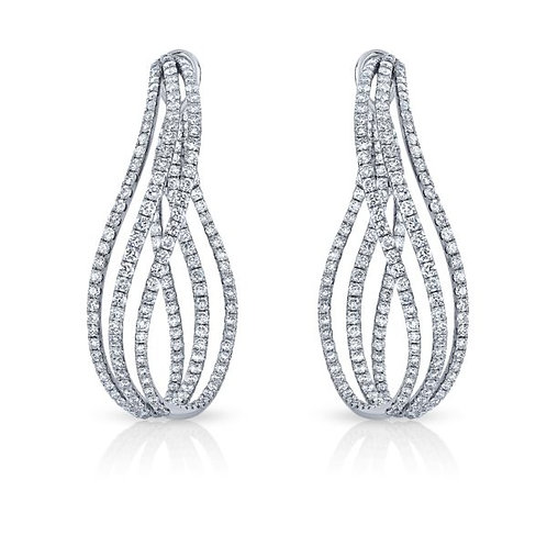 Diamond earrings, three row diamonds