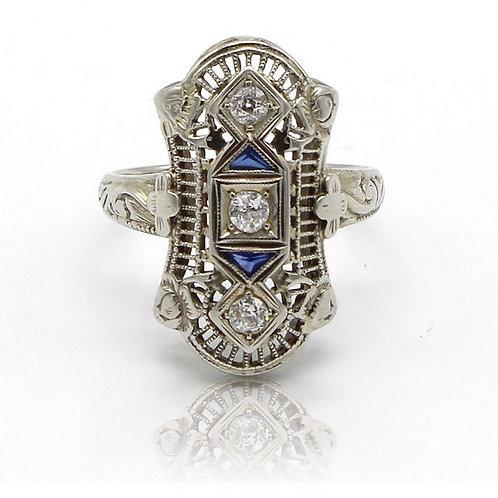 art_deco, 1930's ring, sapphire and diamonds ring, unique antique