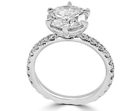 6 prong engagement ring, pave setting, diamond ring, ring for active women