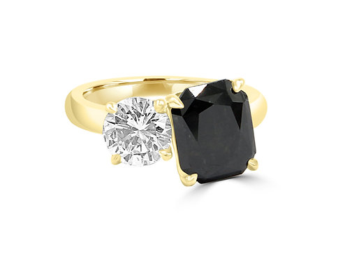 Black diamond,natural black diamond, black diamond radiant cut, one of a kind ring, yellow gold_natural black