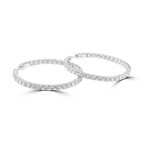 diamond hoops, hoop earrings, large diamonds hoops, 8 ct diamond earrings