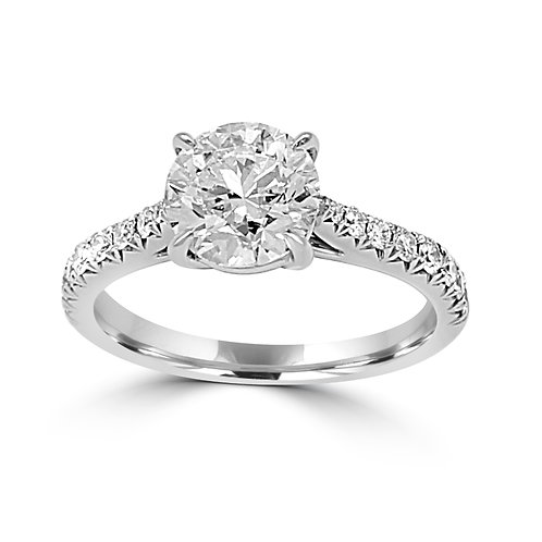 Melissa, french cut setting, pave, diamonds, engagement ring, center round diamond, custom diamond ring