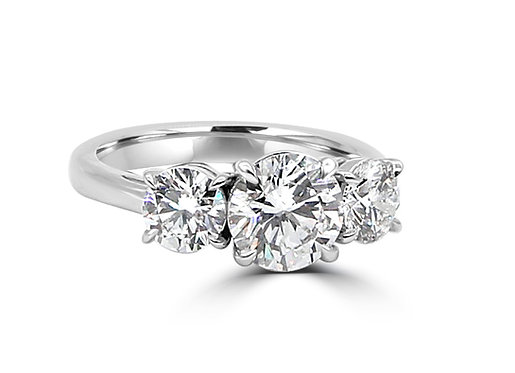 2.5 ct diamond, 3 stone ring, timeless jewelry, classic ring