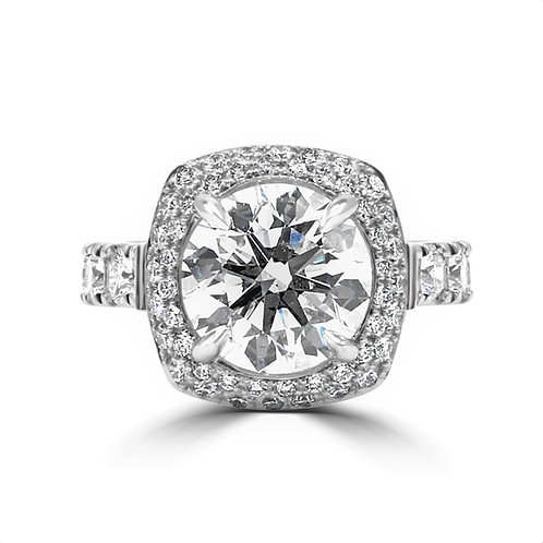 2 row halo, engagement ring, 4 ct round diamond, custom engagement ring