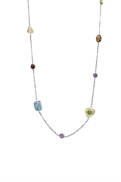 colored necklace, sapphires, long necklace, gold and colored gems necklace