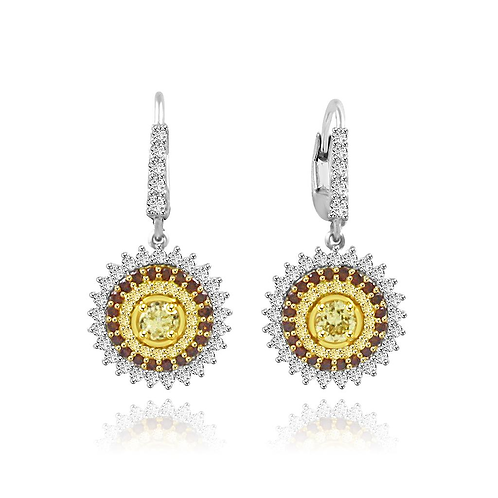 Natural yellow diamond earrings, natural yellow and brown diamonds, diamond earrings