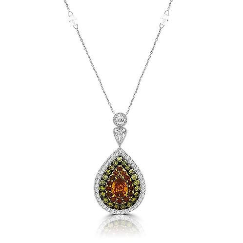 Natural color diamonds, natural orange, natural green, pear shape diamond pendent