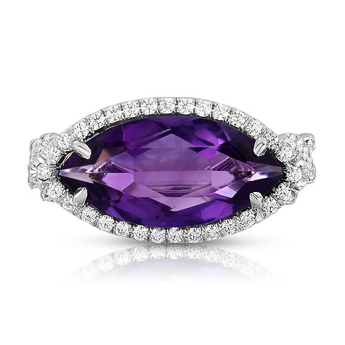 Amethyst, Marquies, marquee, amethyst diamond ring, cocktail ring,