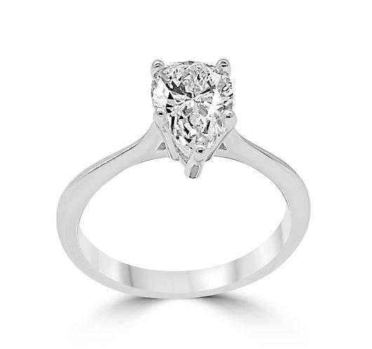 Pear shape diamond ring, pear diamond, pear shape solitaire ring