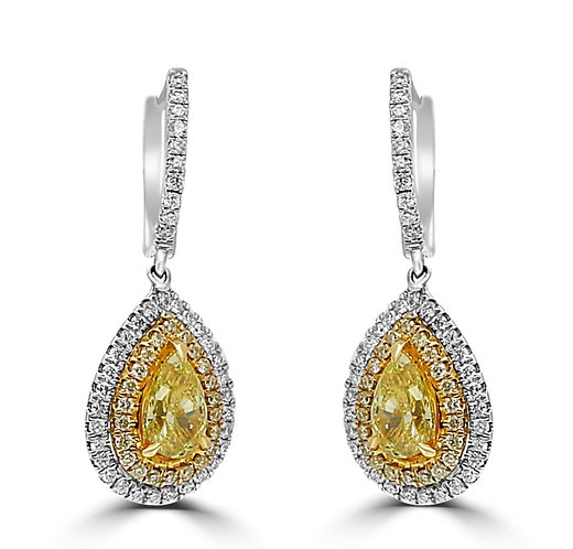 FIY, fancy intense yellow diamonds, fancy diamonds, fancy color diamonds, fancy yellow pear shapes, diamond hanging earrings