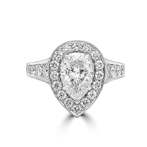custom ring, PS, pear shape diamond, antique replica ring,