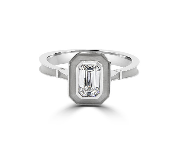 Emerald Cut diamond, Emerald diamond, emerald in bezel, platinum ring with emerald cut