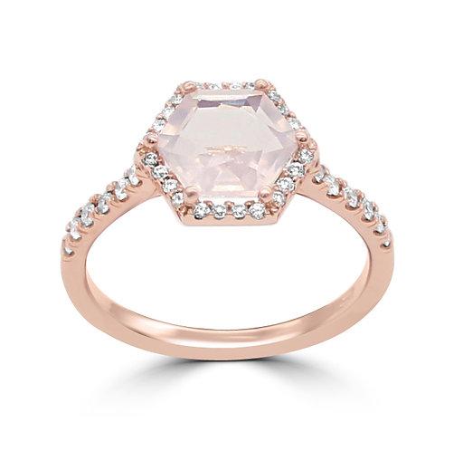 rose gold, rose quartz, engagement ring