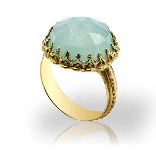 hand made vintage ring, bluish center stone,