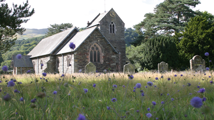 Patterdale Church with summer flowers.pn