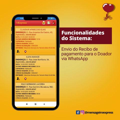 Usando o whatsapp para emitir o recibo de doação