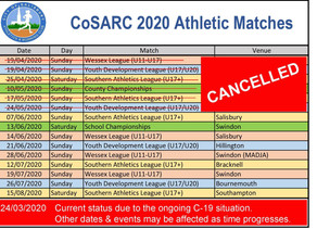 2020 Athletics Matches - C19 UPDATE