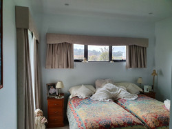 Curtains and pelmet on highlight window.