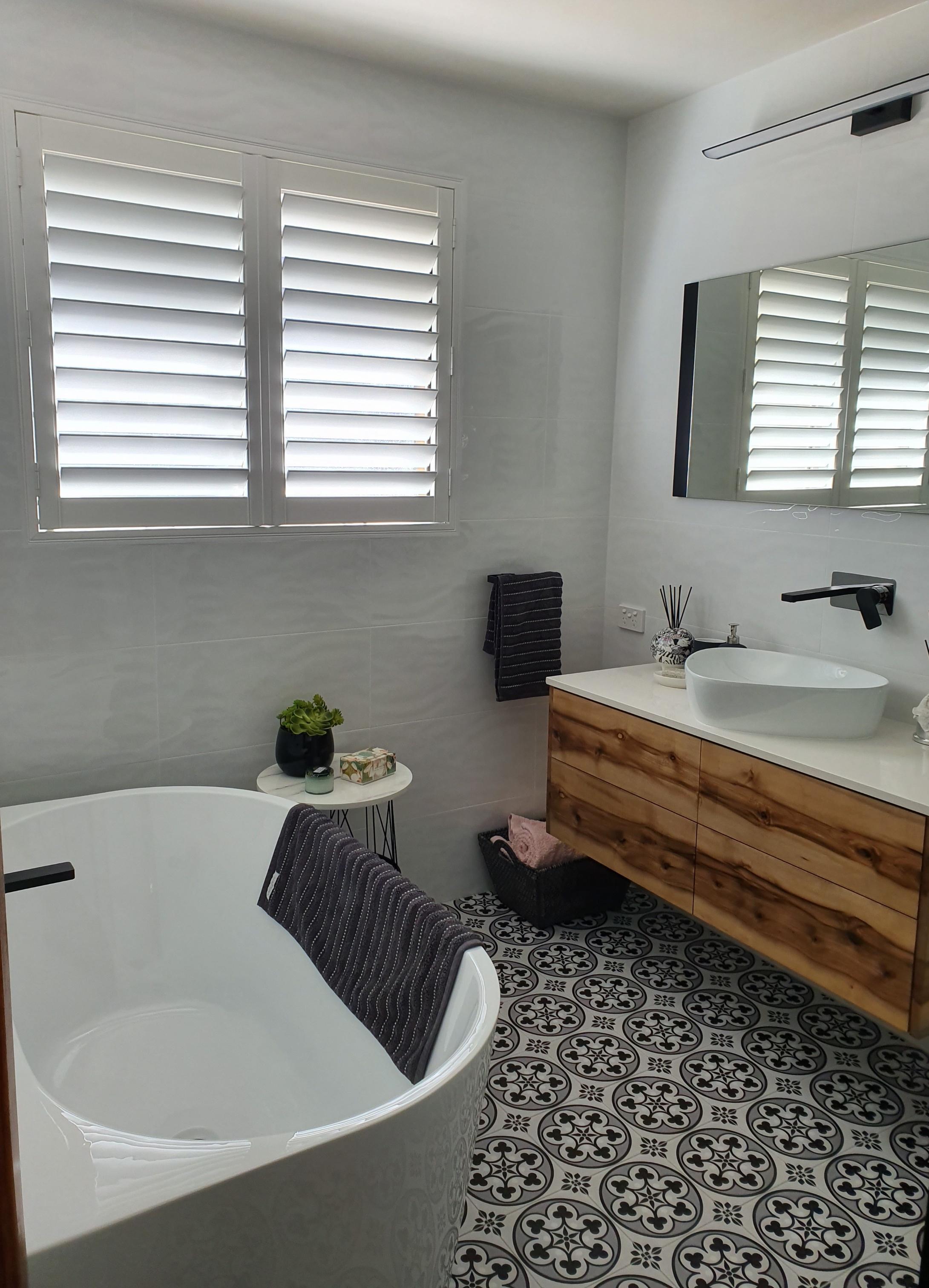 Plantation shutters in bathroom