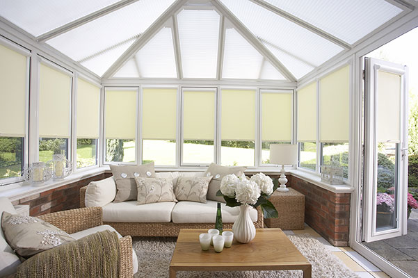 Honey comb blinds in sunroom