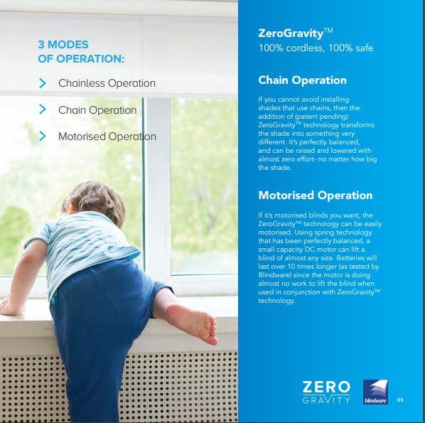 Zero Gravity child safe Roller Blind