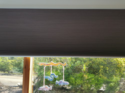 Honeycomb blind in block out fabric