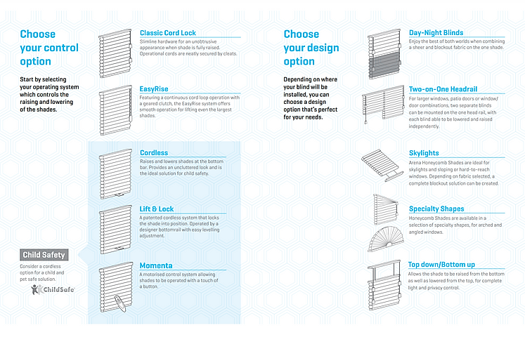 Honeycomb Blinds. Choose from the clever design options with new cordless lift and lock a new popular option.