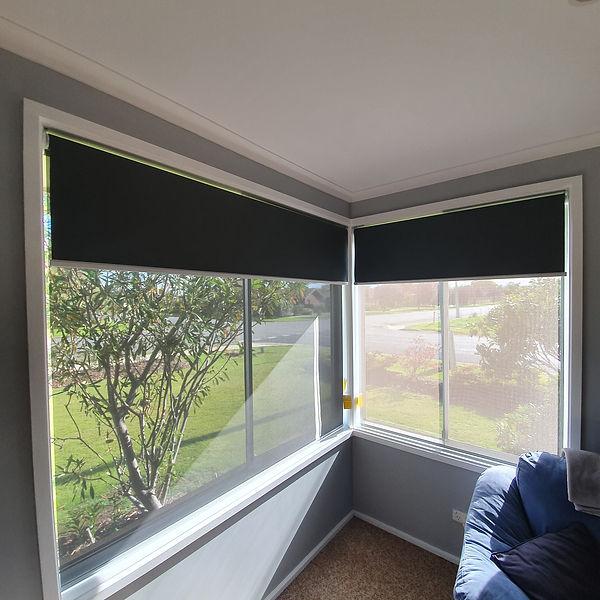 Double Roller Blinds corner window