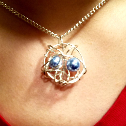 "Two Birthstone Silver Birds Nest Necklace on 24"" Silver Chain"
