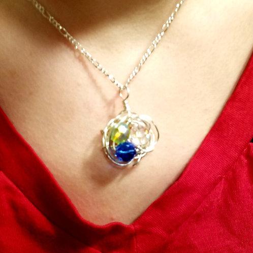 """Three Birthstone Silver Birds Nest Necklace on 24"""" Chain"""